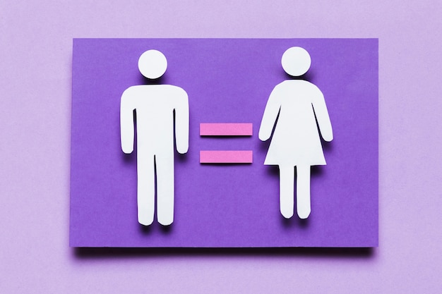 Cartoon donna e uomo con uguaglianza tra di loro