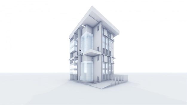 Casa architettonica di prospettiva 3d