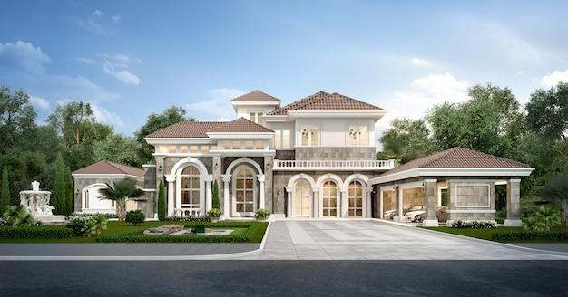 Casa classica moderna della rappresentazione 3d con il giardino di lusso di progettazione