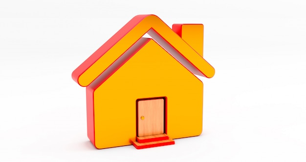 Casa d'oro e rossa sul muro bianco. idea per il concetto immobiliare