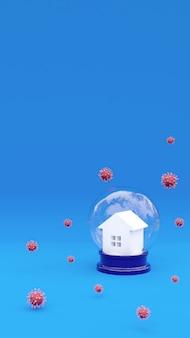 Casa della rappresentazione 3d e molecola di coronavirus. campagna di sensibilizzazione sui social media e poster sulla prevenzione del coronavirus. resta a casa, stai al sicuro. prevenzione da polmonite virale spazio di copia verticale