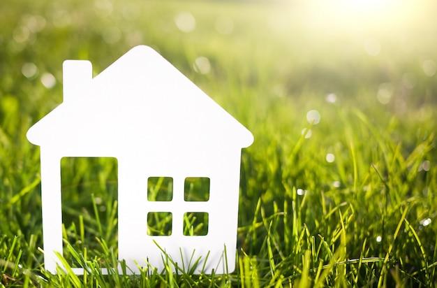 Casa di carta contro su erba verde. concetto di casa eco