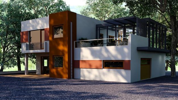 Casa di lusso con piscina e terrazza vicino al prato in moderno. svuotare il cortile nella casa di vacanza o nella villa per le famiglie numerose. illustrazione 3d di nuovo esterno dell'edificio residenziale