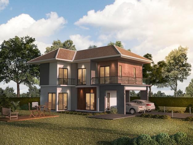 Casa gemellata della rappresentazione 3d con il terrazzo del giardino