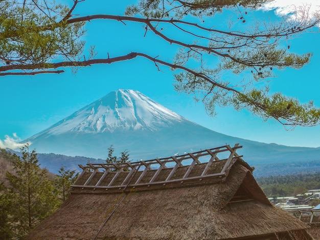 Casa giapponese del villaggio di iyashi no sato farmer con sfondo di montagna fuji.