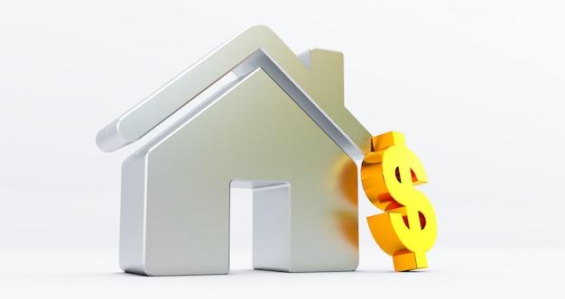 Casa metallica sul muro bianco con il simbolo del dollaro. idea per il concetto immobiliare