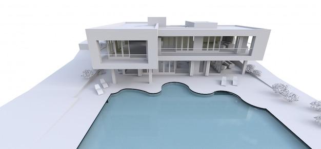 Casa moderna 3d su bianco