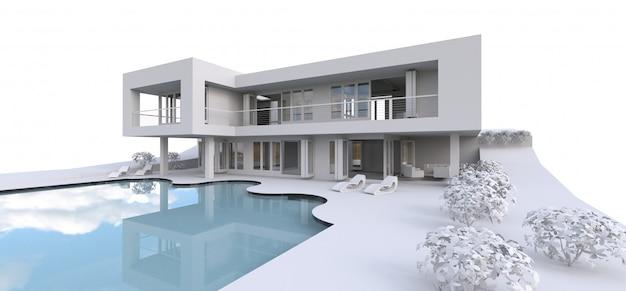 Casa moderna 3d, su fondo bianco. illustrazione 3d