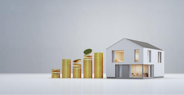 Casa moderna con le monete di oro nel concetto di sviluppo di affari e di investimento della proprietà.