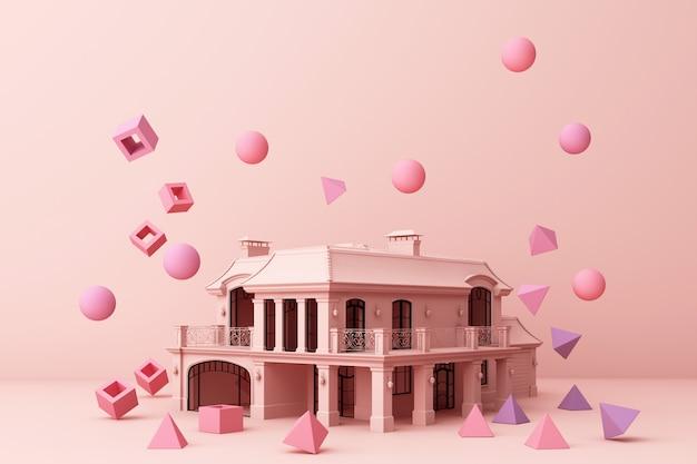 Casa rosa che circonda da molti di forma geometrica rosa e della rappresentazione 3d