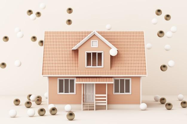 Casa rosa che circonda dall'oro e dalla rappresentazione bianca della palla 3d