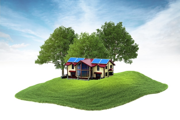 Casa su isola con pannelli solari sul ponte che fluttua nell'aria