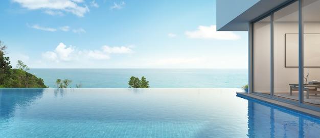 Casa vista mare con piscina dal design moderno.