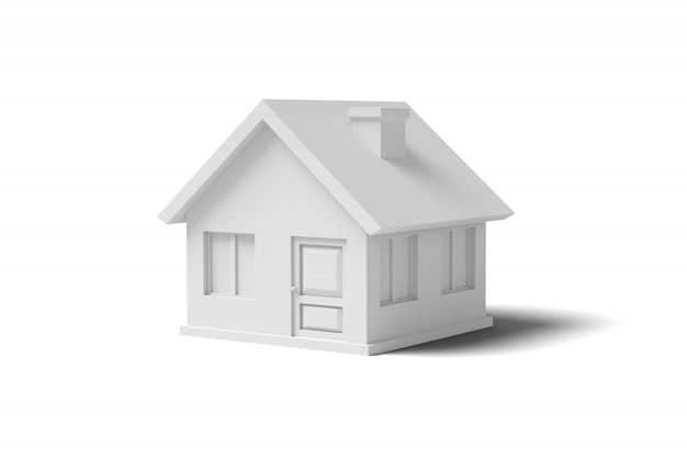 Casa vuota bianca su un'immagine di sfondo bianca