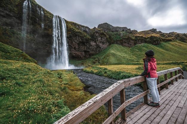 Cascata magica di seljalandsfoss in islanda.