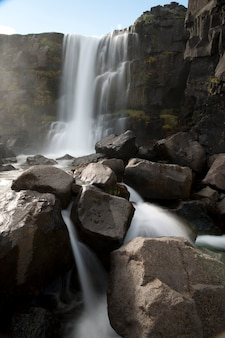 Cascata sopra le scogliere rocciose in islanda
