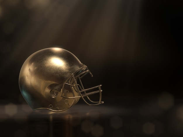 Casco da football dorato. rendering 3d