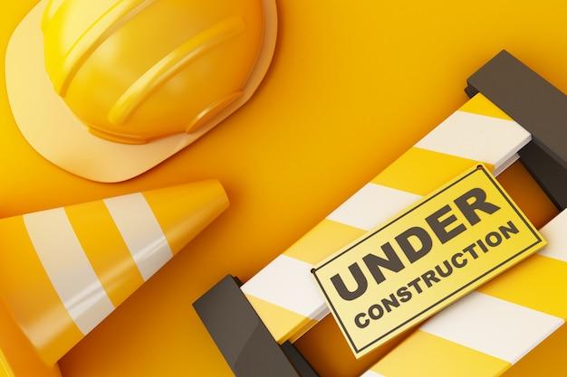 Casco di sicurezza e cono di traffico su sfondo arancione. concetto in costruzione. illustrazione 3d