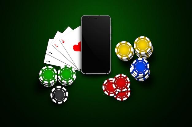 Casinò online, casinò mobile, telefono cellulare, carte chip su verde