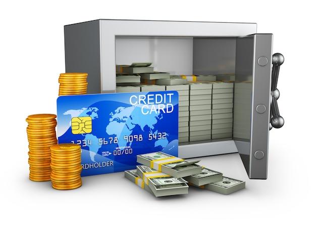 Cassaforte con denaro e carta di credito.
