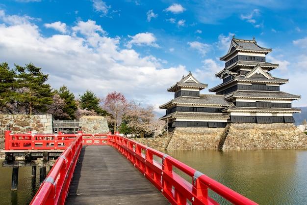 Castello di matsumoto nella stagione primaverile circondato da acqua sotto il cielo della nuvola