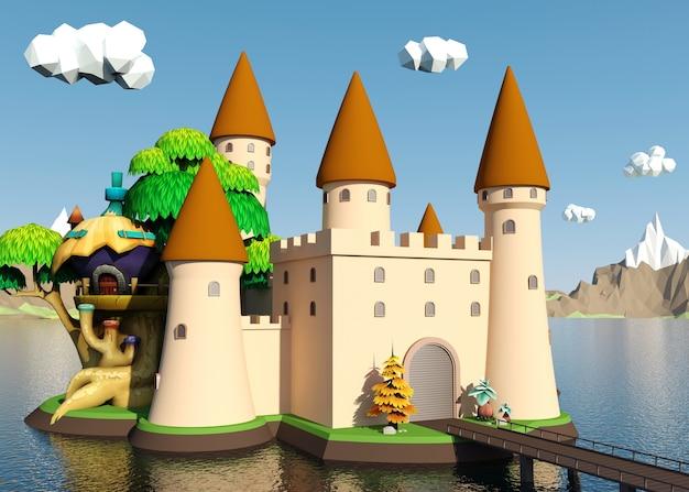 Castello medievale dei cartoni animati sull'isola con un bellissimo paesaggio