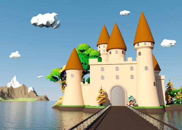 Castello medievale del fumetto sull'isola con bello paesaggio, rappresentazione 3d