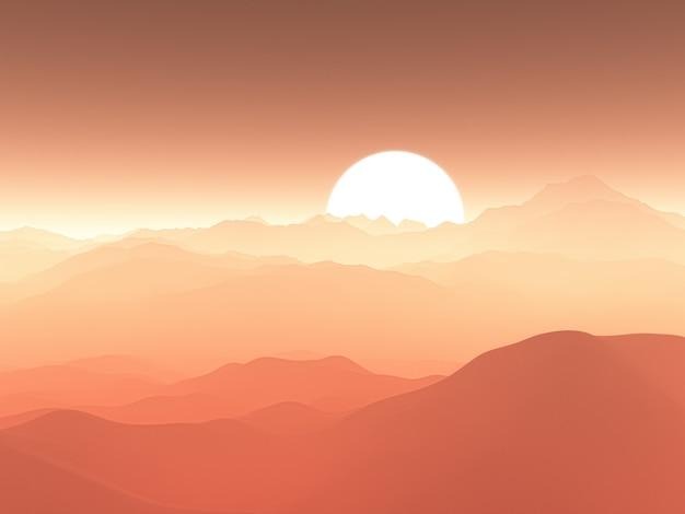 Catena montuosa nebbiosa 3d contro il cielo al tramonto