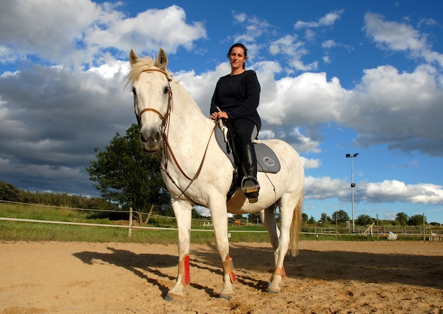 Cavallo e donna in dressage