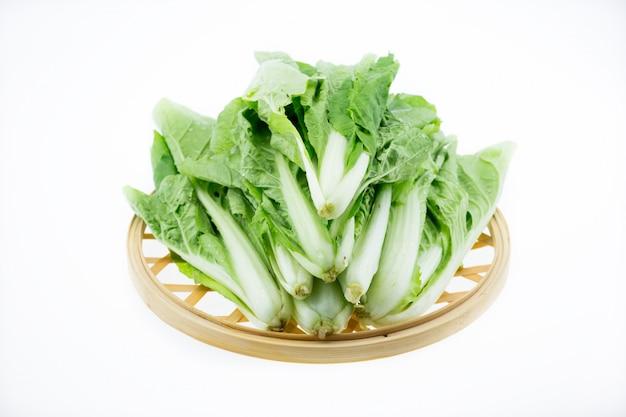 Cavolo verde su sfondo bianco