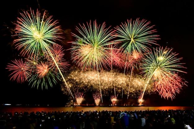 Celebrazione di fuochi d'artificio colorati e lo sfondo del cielo notturno