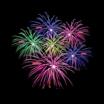 Celebrazione di fuochi d'artificio e il cielo di mezzanotte.