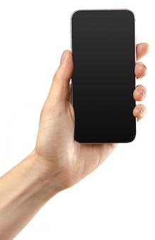 Cellulare dello smartphone della tenuta della mano isolato su bianco