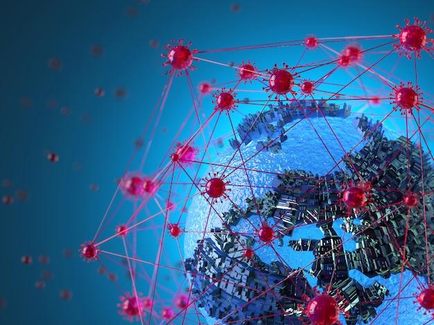Cellule di coronavirus che formano una rete che circonda la terra