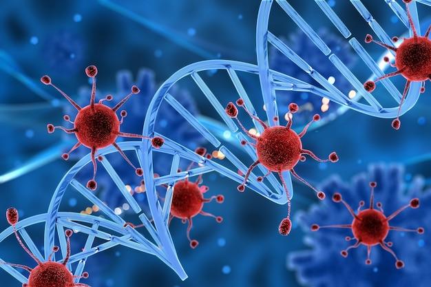 Cellule di virus 3d attaccando un filo di dna