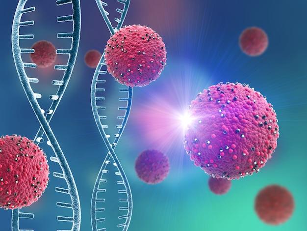 Cellule virali astratte e filamenti di dna