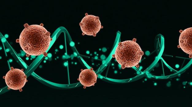 Cellule virali mediche 3d su un filamento di dna