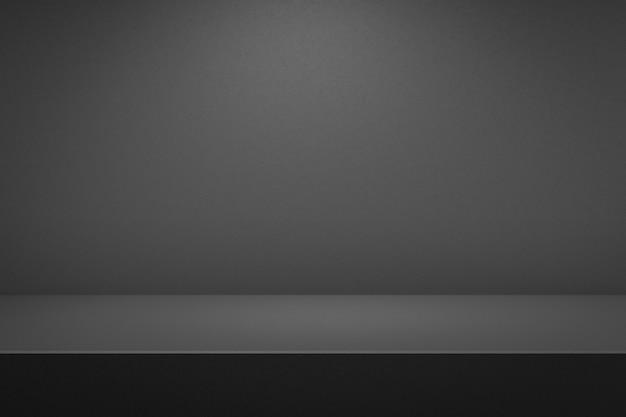 Cementi il fondo interno della stanza scura e del pavimento con il concetto dell'esposizione del prodotto. fondali da studio scuri o vetrina vuota. rendering 3d.