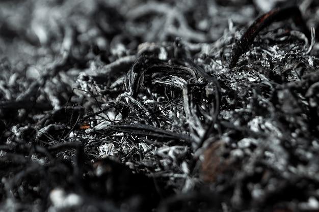 Ceneri sfondo grigio, piante bruciate, trama astratta di carboni e ceneri