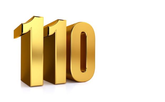 Centodieci, illustrazione 3d numero d'oro 110 su bianco e copia spazio sul lato destro per il testo