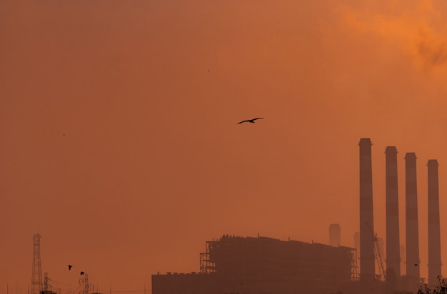 Centrale elettrica con il cielo arancio di tramonto e gli uccelli che volano sul cielo. concetto di inquinamento dell'aria. energia per la fabbrica di supporto nella zona industriale. potenza ed energia.