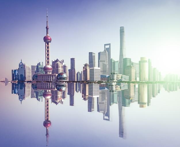 Centro cinese orizzonte metropolitano diurno