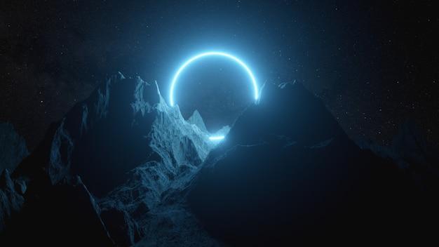 Cerchio al neon blu brillante tra le montagne