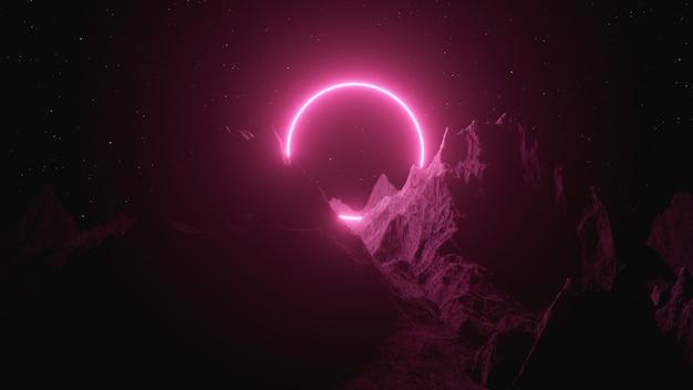 Cerchio al neon viola brillante tra le montagne