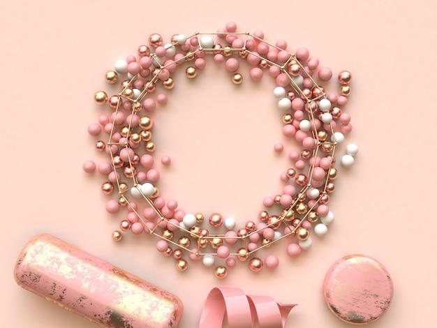 Cerchio cornice molti sfera oro rosa 3d rendering piatto decorazione laici