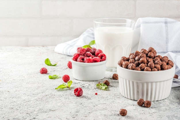 Cereali per la colazione, bicchiere di latte, lamponi e menta su pietra grigia