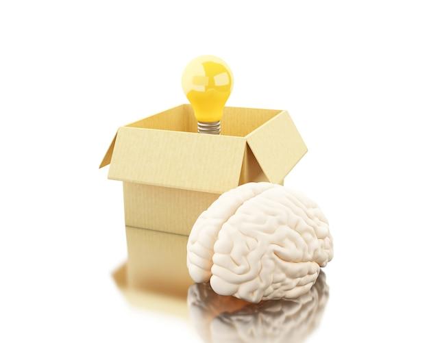 Cervello 3d con ligthbulb e scatola di cartone