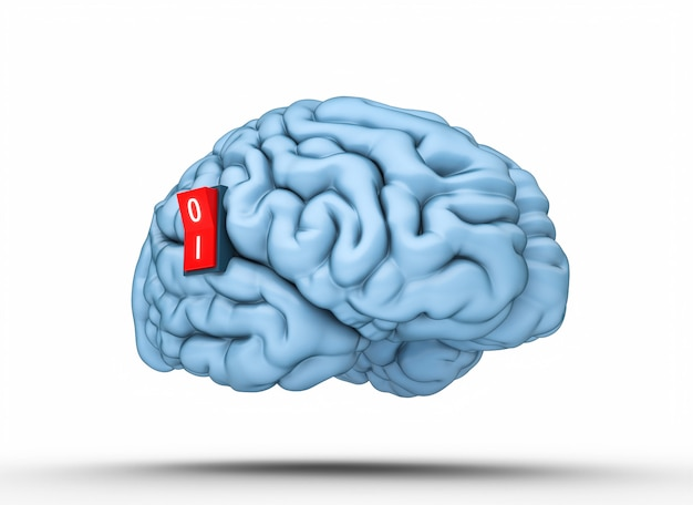 Cervello con interruttore per l'accensione. rendering 3d.