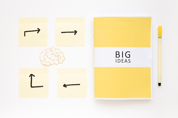 Cervello con le frecce dirigendo verso il diario di grandi idee su sfondo bianco