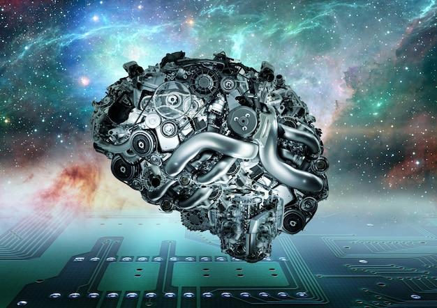 Cervello meccanico su sfondo futuristico